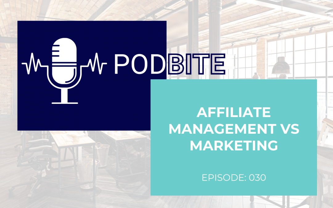 Affiliate Management vs Affiliate Marketing :: Learning Bite :: Episode 30